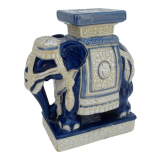 Ceramic Glazed Elephant Plant Stand or Accent For Sale