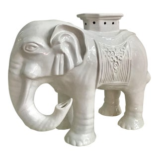 Vintage Chinoiserie Blanc De Chine Elephant Garden Stool For Sale