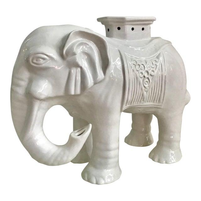 Vintage Chinoiserie Blanc De Chine Elephant Garden Stool For Sale