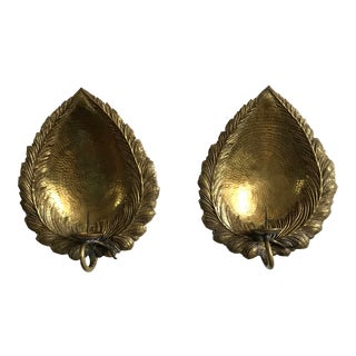 1950s Mid-Century Brutalist Brass Candle Sconces - a Pair For Sale