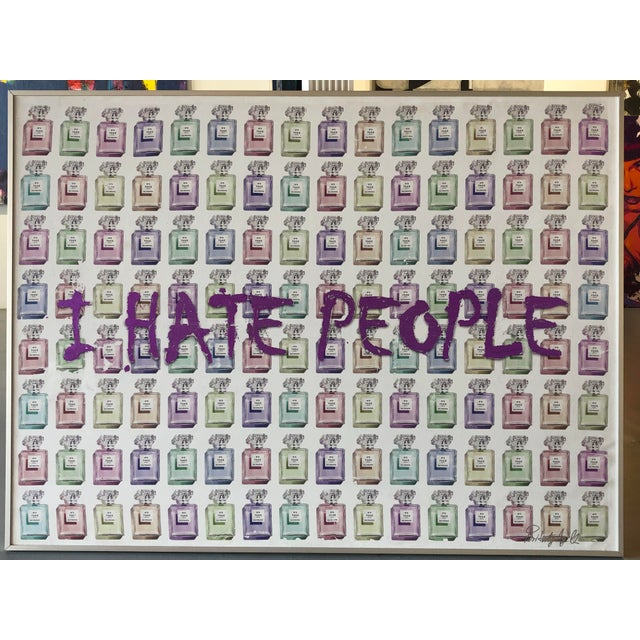 """""""I Hate People"""" Framed Mixed Media Painting by Italian Pop Artist For Sale - Image 11 of 12"""