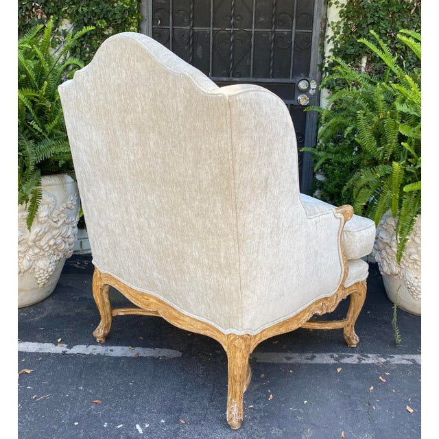 Antique Early 19c Carved Louis XV Style Wingback Arm Chair For Sale - Image 4 of 6