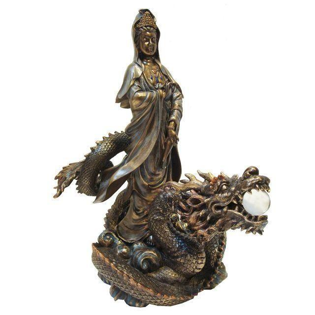 Quan Yin, the diety of Mercy, carried on her trusty dragon said to protect you in your home. Both elegant and powerful. I...
