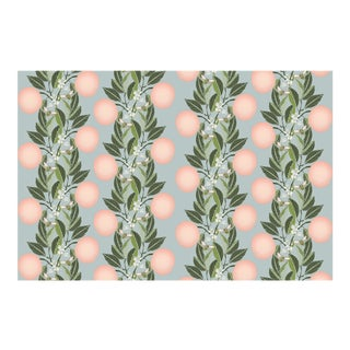 Orange Blossom Stripe Pink Powder Blue Linen Cotton Fabric 6yds For Sale