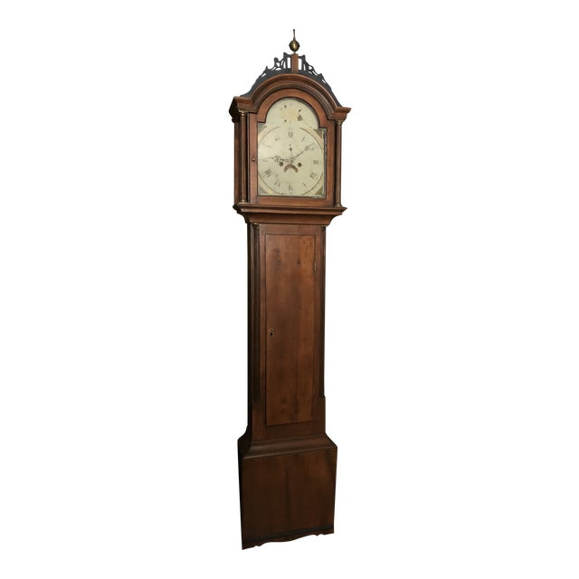 Antique Early American Grandfather Clock Attributed to Silas Parsons For Sale