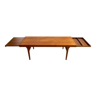 Johannes Andersen Mid-Century Danish Modern Teak Coffee Table Extendable Draw Leaf