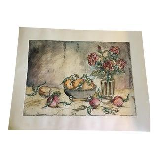"""Bowl of Lemons & a Vase of Roses"" Mixed Media For Sale"