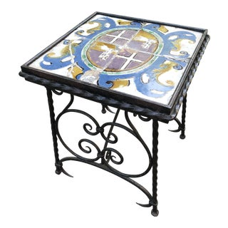 Italian Tile Top Hand-Wrought Iron Side Table