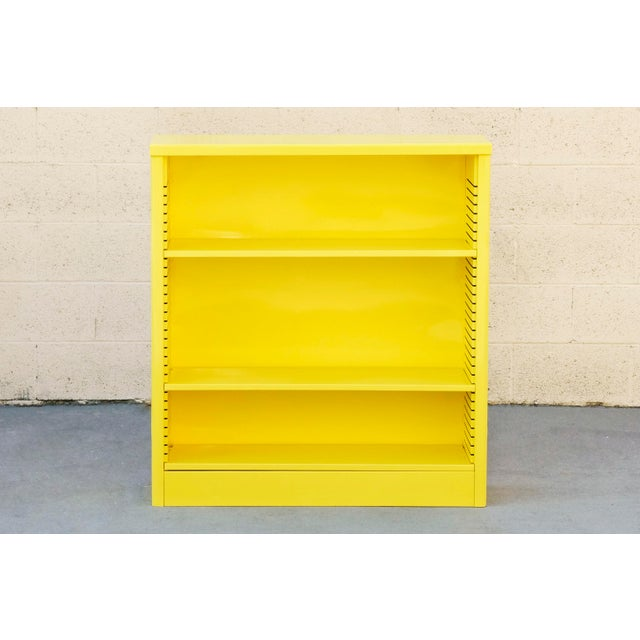 Yellow 1960s Steel Tanker Style Bookcase in Yellow, Custom Refinished to Order For Sale - Image 8 of 8