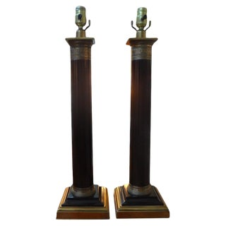 1960s Vintage Neoclassical Style Column Lamps - a Pair For Sale