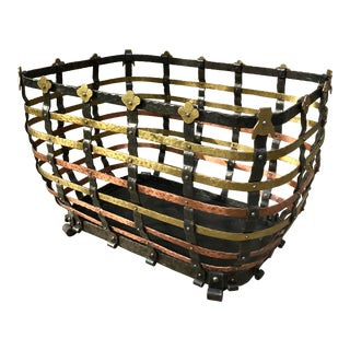 Vintage Mid Century Antonio Vignola Italy Storage / Fire Wood Basket For Sale