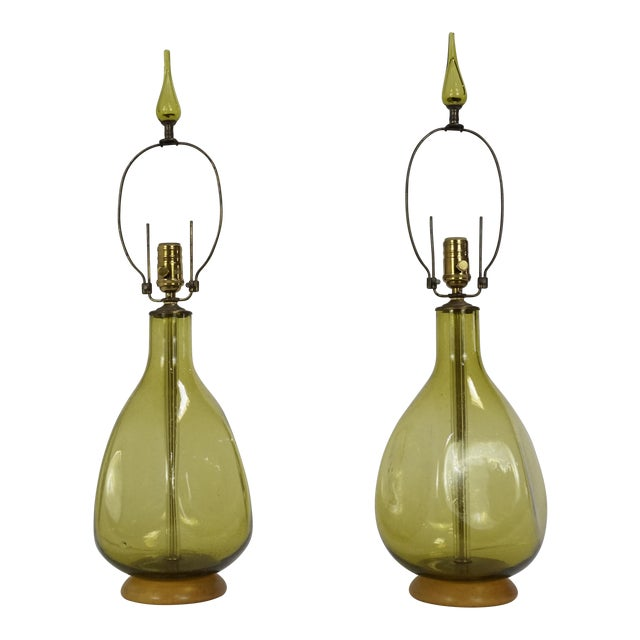 Pair of Green Blenko Glass Lamps with Matching Finials - Image 1 of 8