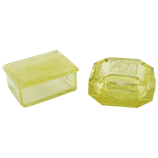 Bohemian Art Deco Vaseline Czech Glass Ashtray & Box - Image 1 of 11