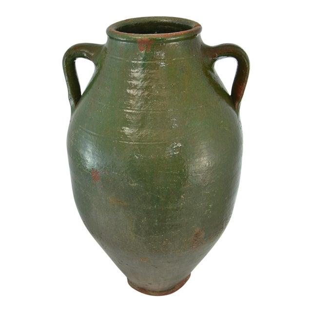 Turkish Oversize Dark Green Glazed Urn For Sale