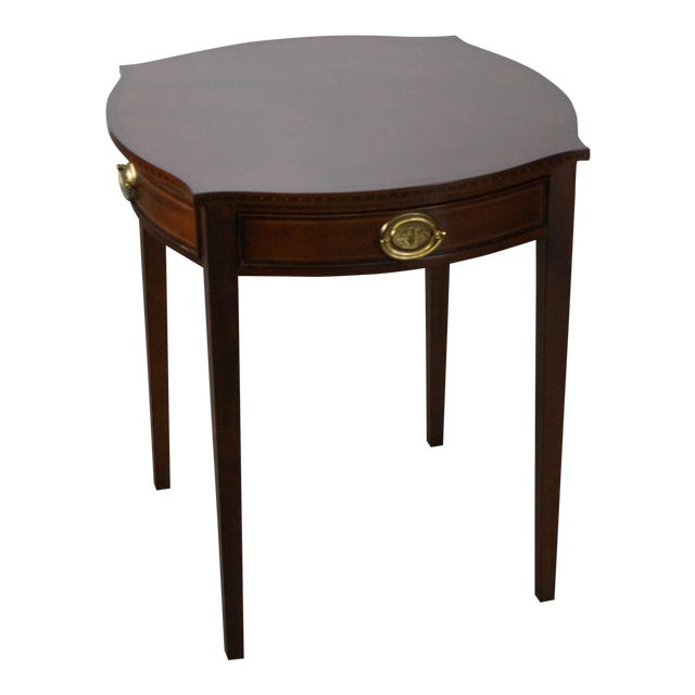 Kindel Winterthur Collection Mahogany Inlaid Hepplewhite Style Occasional Table (A) For Sale