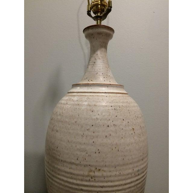 White Speckled Eggshell Glazed Danish Pottery Lamp For Sale - Image 8 of 8