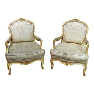 Pair of Louis XV Style Fauteuils For Sale