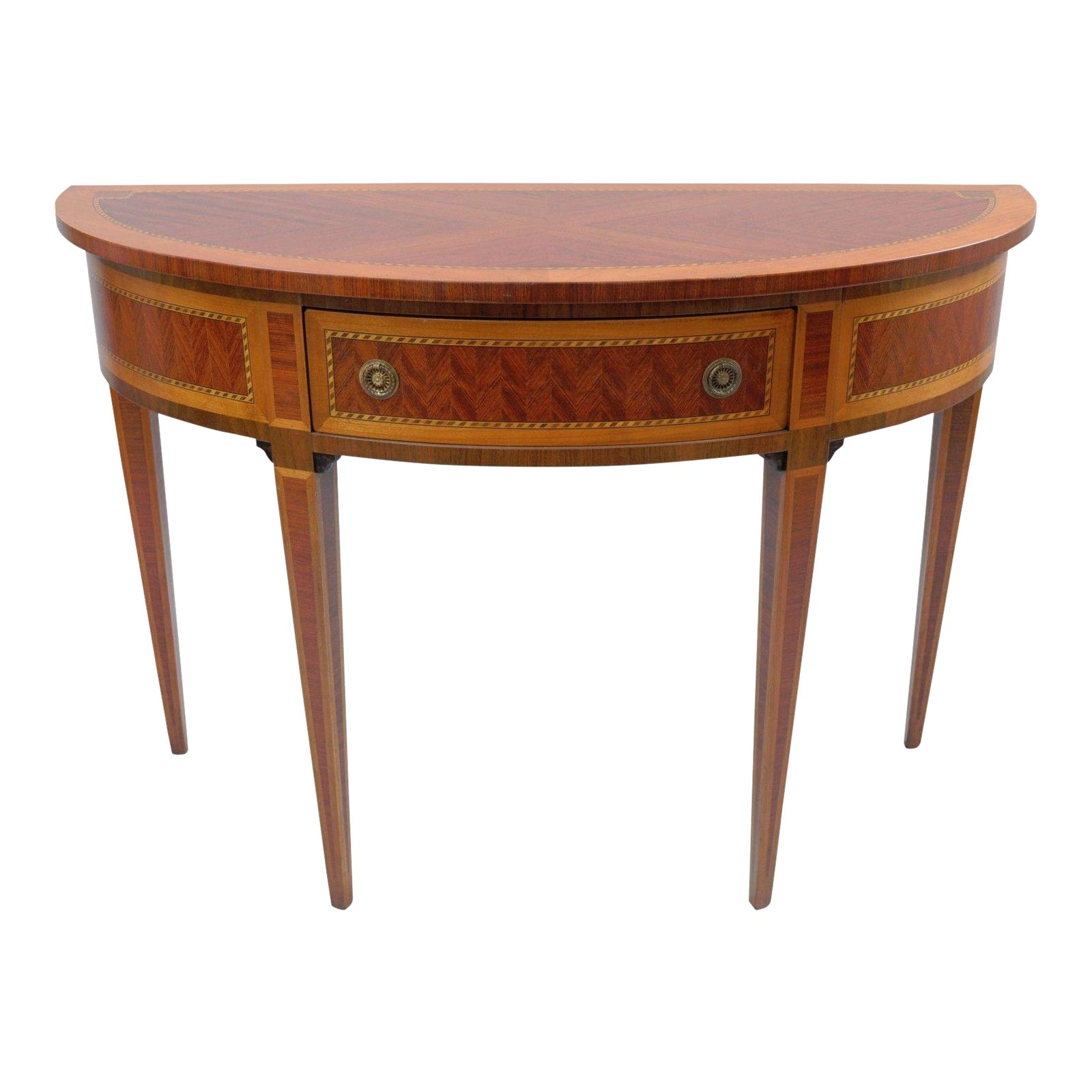 Italian Demilune Console Hall Table Inlaid Banded 1 Drawer