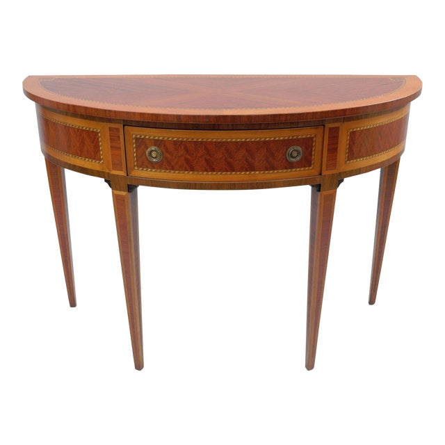 Italian demilune console hall table inlaid banded 1 drawer for Demilune console table with drawers