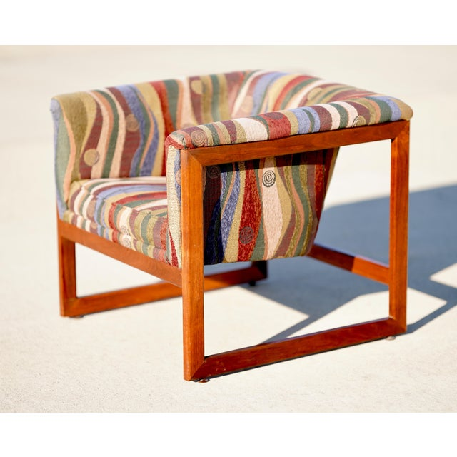 Wood 1970s Vintage Milo Baughman Cube Floating Lounge Chair For Sale - Image 7 of 7