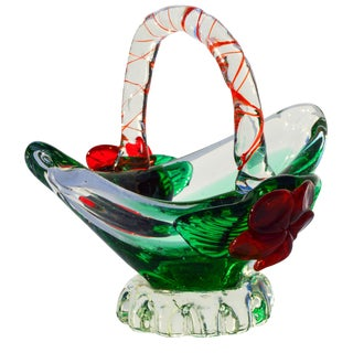 Midcentury Murano Glass Basket For Sale