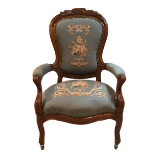 Blue Needlepoint Armchair