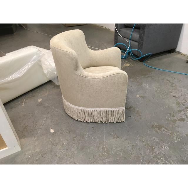 Custom Upholstered Wingback Armchair For Sale - Image 4 of 5