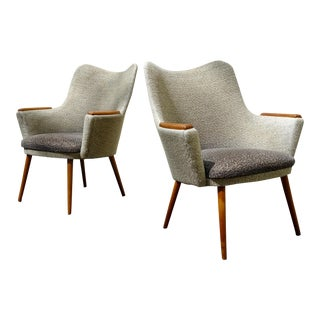1960s Mid-Century Danish Modern Mogens Koch for Carl Hansen & Son Bergere Chairs - a Pair