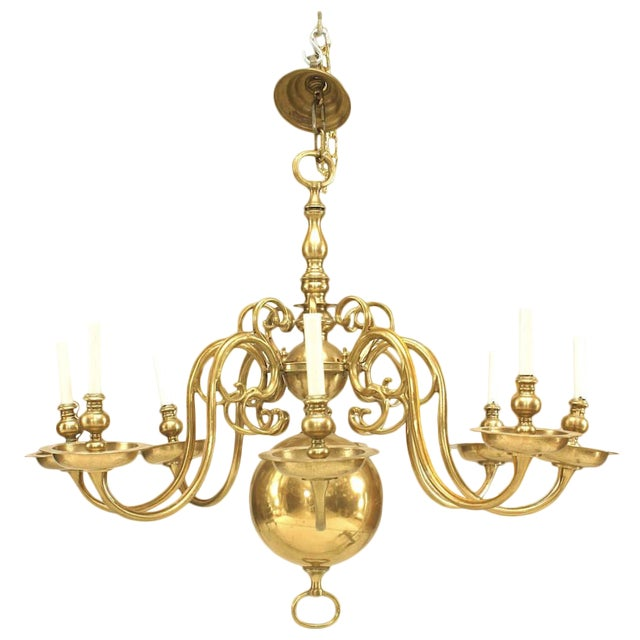 English Georgian Style Brass Chandelier For Sale