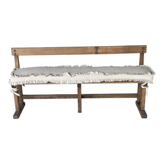 Antique French Bench & Linen Cushion For Sale