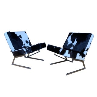 Pair Chromed Steel 1970s Lounge Chairs, Argentine Hide For Sale
