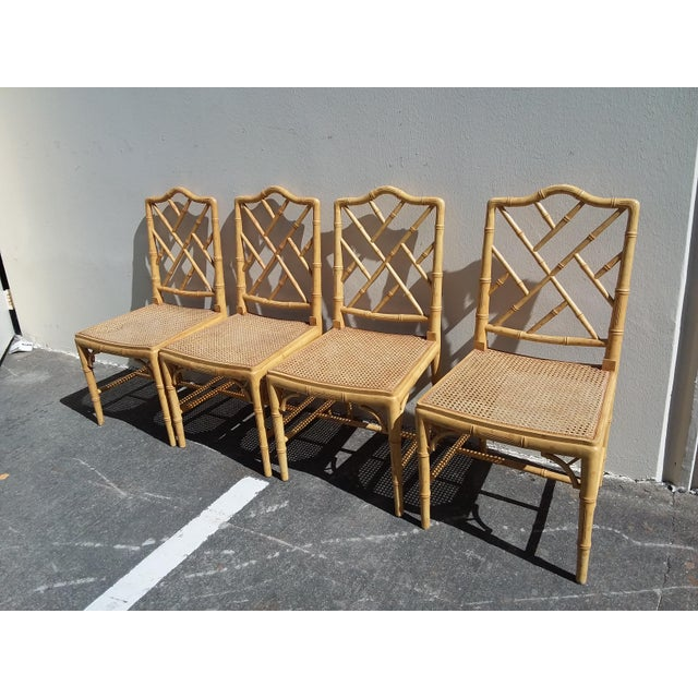 Set Of Four cane and carved wood faux bamboo Regency Style Side Chairs With faux bios Details.