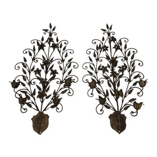 Hand Wrought Iron Floral Wall Sconces - A Pair For Sale