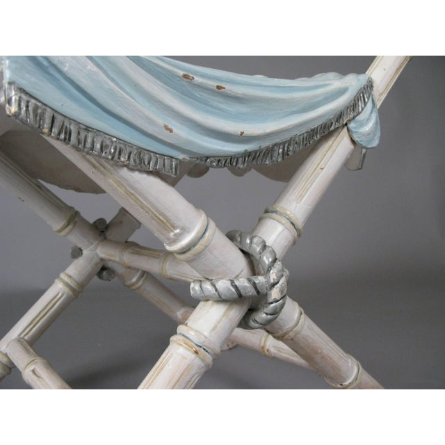 Hollywood Regency Antique Italian Carved and Draped Bench For Sale - Image 3 of 8