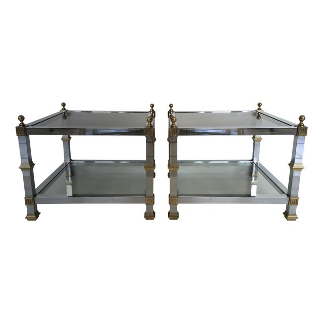 1970s Vintage Chrome & Brass Tables - Pair - Image 1 of 5