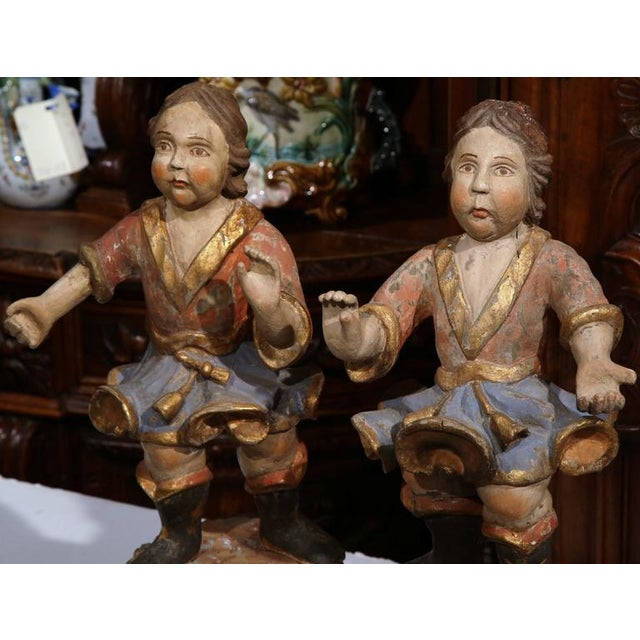 Baroque 18th Century Italian Carved Polychrome Figures on Wooden Gilded Stands - a Pair For Sale - Image 3 of 6