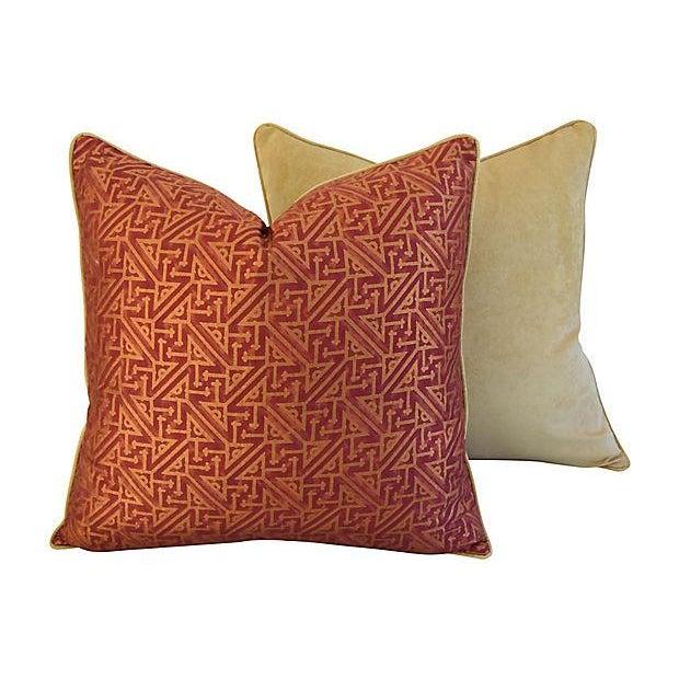 Custom Italian Mariano Fortuny Simboli Feather/Down Pillows - Pair - Image 8 of 10