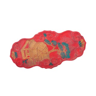 "Chinese Antique 10"" Red Ink Stone & Dragon Relief For Sale"