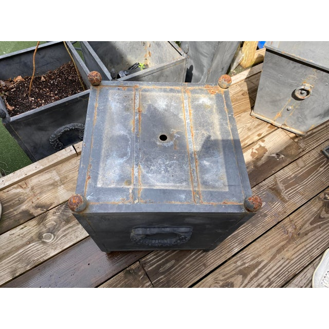Metal Steel Planters - a Pair For Sale - Image 7 of 11