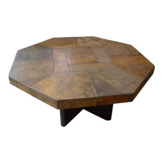 a fine mosaic stone coffee table