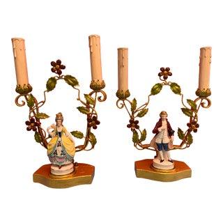 Antique Rococo Style Tole Porcelain Man & Woman Figurative Boudoir Lamps - a Pair For Sale