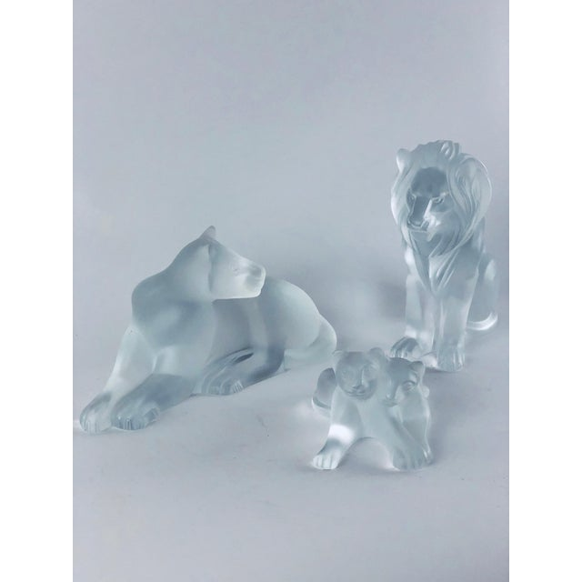 """This vintage Lalique lion family is in pristine condition, handmade in France, and signed. Bamara is 3.25"""" w x 7.25"""" l and..."""
