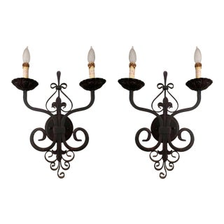 Vintage Reproduction French Country Rustic Sconces - a Pair For Sale