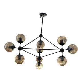 Mid-Century Modern 10-Light Black Sputnik Chandelier