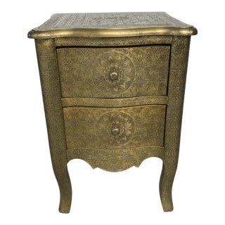 Boho Chic Anthropologie Gold Embossed Nightstand