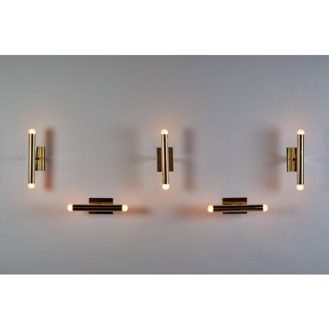 Set of Eight Italian Brass Tubular Sconces - Image 7 of 7