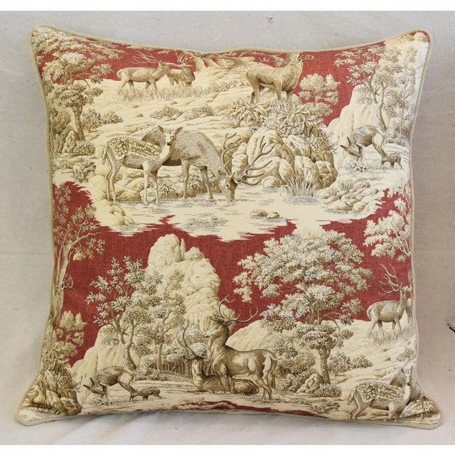 Custom Woodland Toile Deer & Velvet Pillows - a Pair - Image 4 of 10