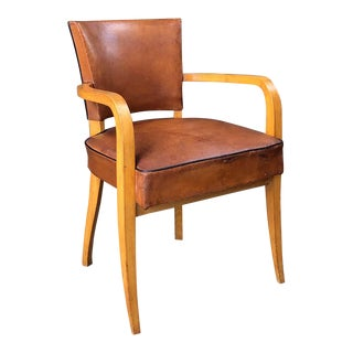French Leather Covered Bridge Chair For Sale