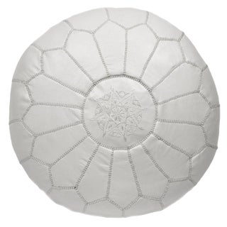 Embroidered Leather Pouf, White on White For Sale