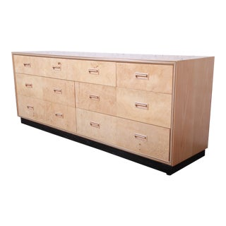Milo Baughman Style Burl Wood Long Dresser or Credenza by Henredon For Sale